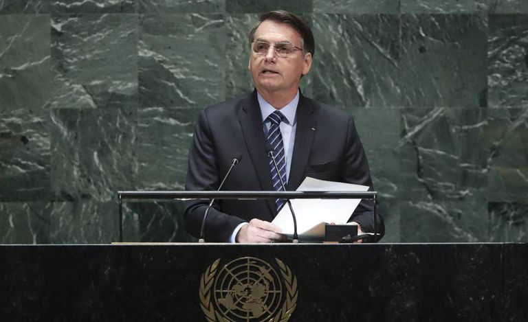 Bolsonaro durante seu discurso na Assembleia Geral da ONU.