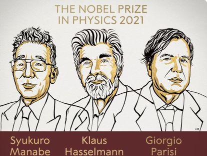 Os ganhadores do Prêmio Nobel de Física de 2021.