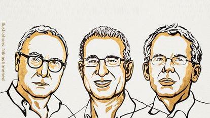 David Card, Joshua D. Angrist e Guido W. Imbes, ganhadores do Nobel de Economia 2021.
