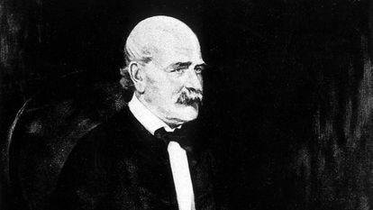 Retrato do médico húngaro, Ignaz Semmelweis.