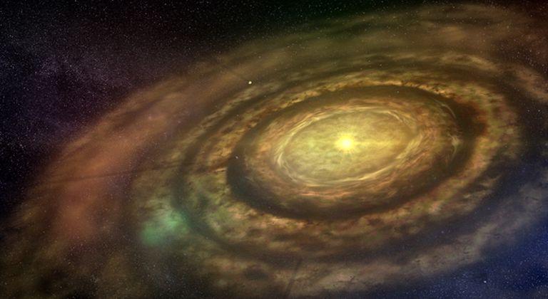 As rochas do disco que se formou ao redor do Sol primitivo continham os elementos que permitiram a existência da água na Terra. University of Copenhagen/Lars Buchhave