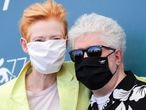 """VENICE, ITALY - SEPTEMBER 03: Tilda Swinton and Director Pedro Almodóvar attend the photocall of the movie """"The Human Voice"""" at the 77th Venice Film Festival on September 03, 2020 in Venice, Italy. (Photo by Vittorio Zunino Celotto/Getty Images)"""