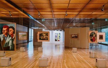 Vista da exposição com a recriação do projeto de Lina Bo Bardi, no Museu Gulbenkian, em Lisboa.