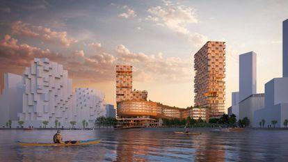 A empresa Sidewalk Labs está testando para o Quayside edifícios altos feitos de massa de madeira, tão resistente quanto o aço e o concreto, e gesso Shikkui, elaborado com algas e casca de ovo. Imagem da cidade vista do porto. |
