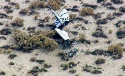 Imagem de televisão dos restos da nave.