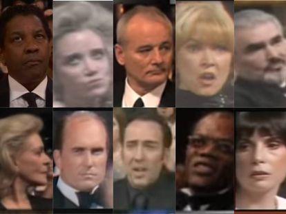Um milésimo de segundo que mostra uma tempestade interna: estas foram as caras que fizeram estas estrelas indicadas ao Oscar depois que, ao ser aberto o envelope, escutaram o nome de outro.