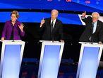 Los precandidatos demócratas Elizabeth Warren, Joe Biden y Bernie Sanders.