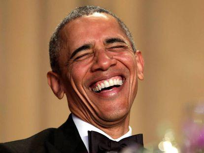Obama no jantar com correspondentes, no sábado.