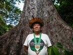 Davi Kopenawa Yanomami no encontro de Lideranças Yanomami e Ye'kuana, onde os indígenas se manifestaram contra o garimpo em suas terras. O primeiro fórum de lideranças da TI Yanomami foi realizado entre 20 e 23 de novembro de 2019 na Comunidade Watoriki, região do Demini, Terra Indígena Yanomami