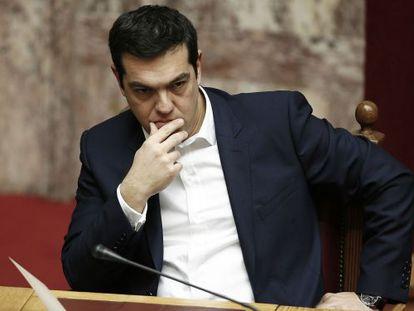 Alexis Tsipras no Parlamento grego em 5 de fevereiro.
