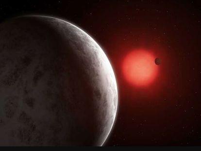 Representação das duas super-Terras orbitando em torno da GJ 887.