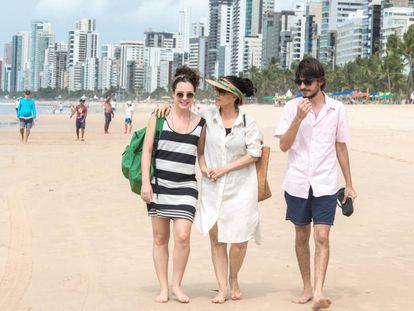 Cena de 'Aquarius' na praia de Boa Viagem, no Recife.