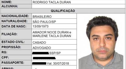 A ficha do advogado Rodrigo Duran na Interpol.