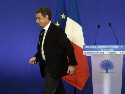 Nicolás Sarkozy, ontem em Paris.