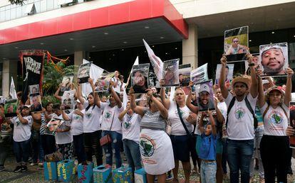 Protesto contra a mineradora Vale, em Belo Horizonte, no dia 20 de janeiro de 2020.