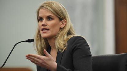 Frances Haugen em sua audiência de terça-feira no Senado.