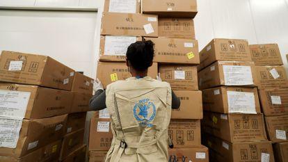 Uma trabalhadora do Programa Mundial de Alimentos organiza as doações humanitárias da ONU emAddis Ababa, na Etiópia, em 14 de abril deste ano.
