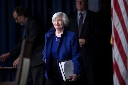 Janet Yellen chega para uma reunião no Fed, em dezembro de 2017.