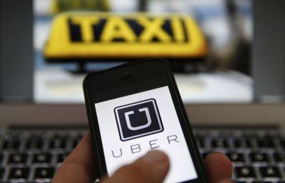 Logo do serviço de táxis alternativos Uber.