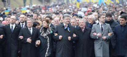 Marcha para comemorar o primeiro aniversário da revolução que derrubou há um ano Yanukovich.