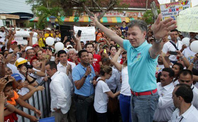 O presidente Juan Manuel Santos, em um ato político.