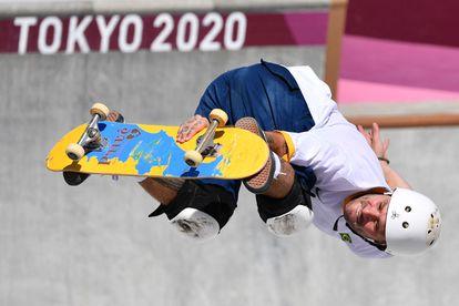 Pedro Barros disputa a final do skate park.
