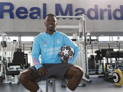 Vinicius, na academia da cidade esportiva do Real Madrid.