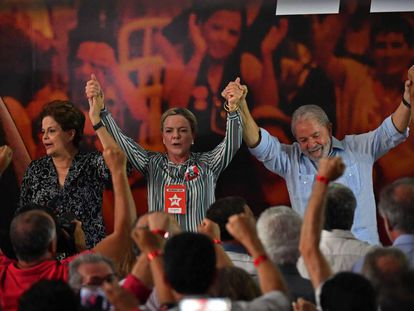 Dilma Rousseff, Gleisi Hoffmann e Lula em evento na CUT.