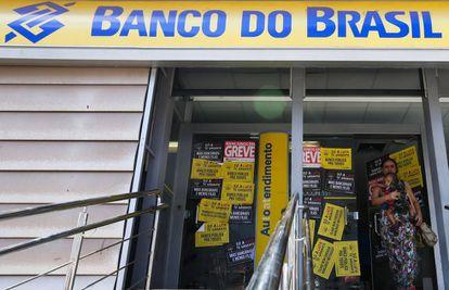 Agência do Banco do Brasil em greve em Brasília.