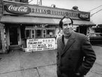 Author, Philip Roth, revisiting areas where he grew up in Newark, standing at hamburger stand.  (Photo by Bob Peterson/The LIFE Images Collection via Getty Images/Getty Images)
