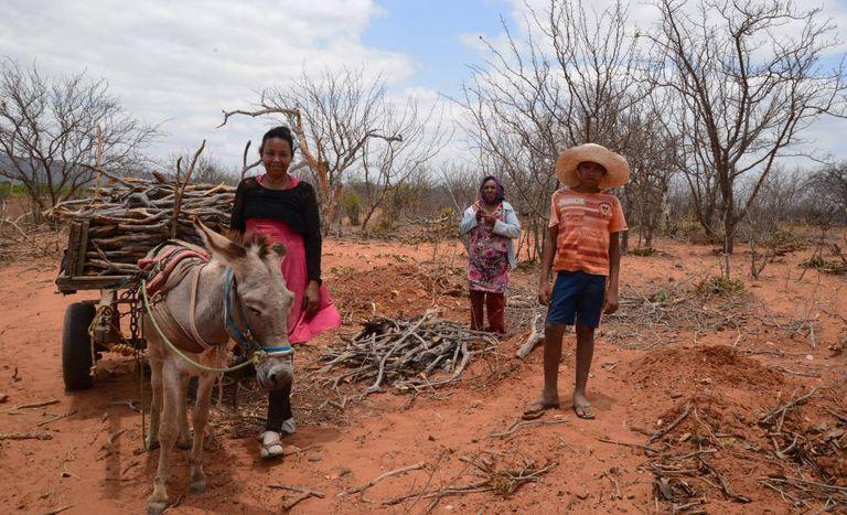 Da esquerda para a direita: Pequena da Silva, Maria Luzia Adalto e o filho, Anderson Adalto, em Manari (PE).