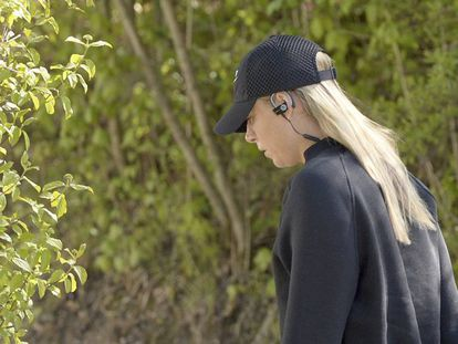 Sharapova, antes de um treino em Stuttgart.
