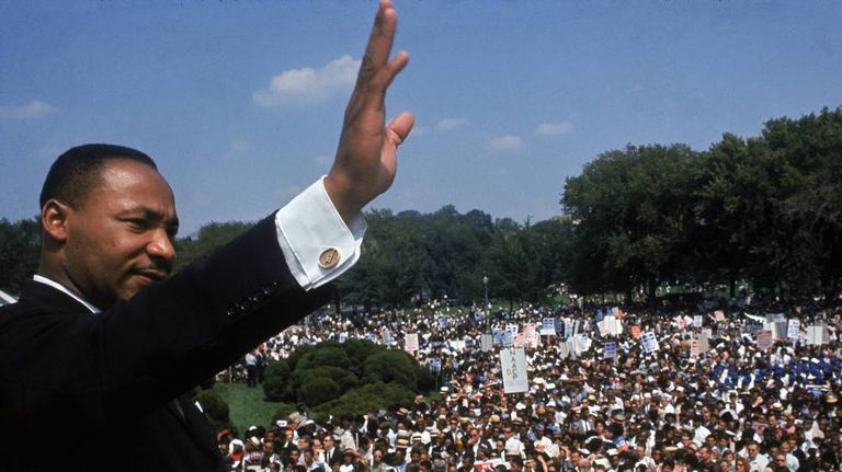 Martin Luther King, no Monumento a Lincoln em Washington