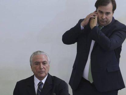 Michel Temer e o presidente da Câmara, Rodrigo Maia