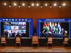 AME247. ASUNCIÓN (PARAGUAY), 02/07/2020.- Vista general de la reunión virtual este jueves durante la Cumbre de Jefes de Estado del Mercosur y Estados Asociados en el Salón de Convenciones del Banco Central del Paraguay en Asunción (Paraguay). EFE/Presidencia de Paraguay/ SOLO USO EDITORIAL/ NO VENTAS