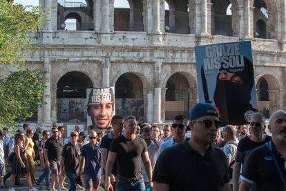 Manifestação de CasaPound contra a lei que permitiria aos filhos de imigrantes nascidos na Itália ter a nacionalidade.