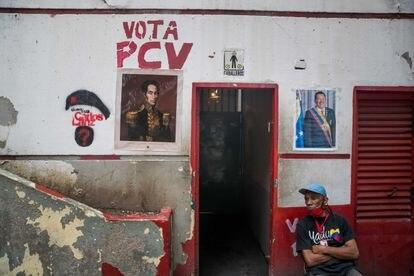Grafite do Partido Comunista da Venezuela (PCV), em 26 de novembro de 2020, em Caracas.