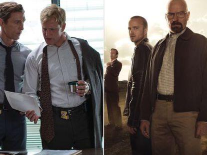 À esquerda, 'True Detective'. À direita, 'Breaking Bad'.