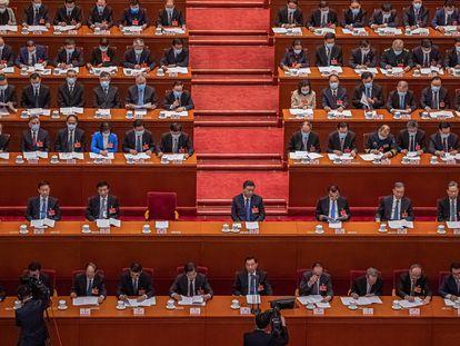 O presidente chinês, XI Jinping, na Assembleia Nacional Popular, em 8 de março.