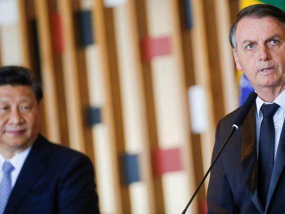 Xi e Bolsonaro em encontro no Itamaraty.