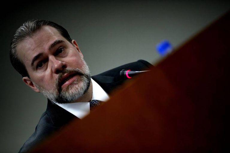 O presidente do STF, Dias Toffoli, durante coletiva de imprensa nesta segunda-feira, em São Paulo.