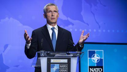 O secretário-geral da OTAN, Jens Stoltenberg, numa entrevista coletiva sobre o Afeganistão em 20 de agosto em Bruxelas.