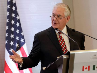 O secretário de Estado, Rex Tillerson, em uma coletiva de imprensa em México o passado fevereiro.