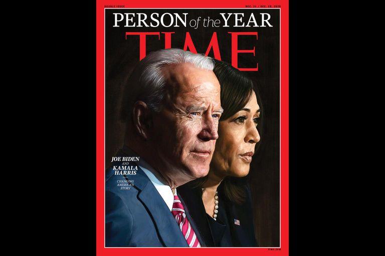 Capa da revista 'Time' que retrata o presidente-eleito dos EUA, Joe Biden, e a sua vice, Kamala Harris, como personalidades do ano.