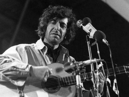 Leonard Cohen, no festival da Ilha de Wight em 1970.