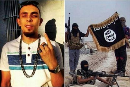 À esquerda, Abdel Bary. À direita, uma foto da célula do Estado Islâmico à qual ele pertencia, segundo os investigadores.
