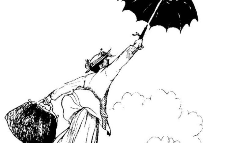 Mary Poppins, em ilustração original de Mary Sheppard.