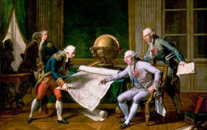 Luis XVI (de rosa) dá instruções para o capitão La Perouse, de Nicolas André Monsiau (1785)