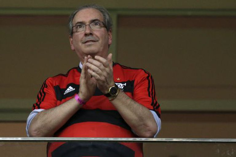 Eduardo Cunha, depois de um jogo do Flamengo dia 17.
