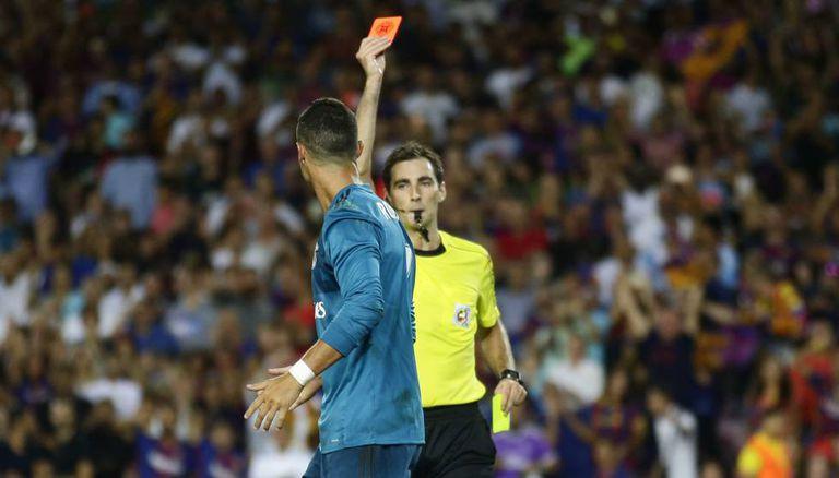 Expulsão de Cristiano Ronaldo no jogo de ida.